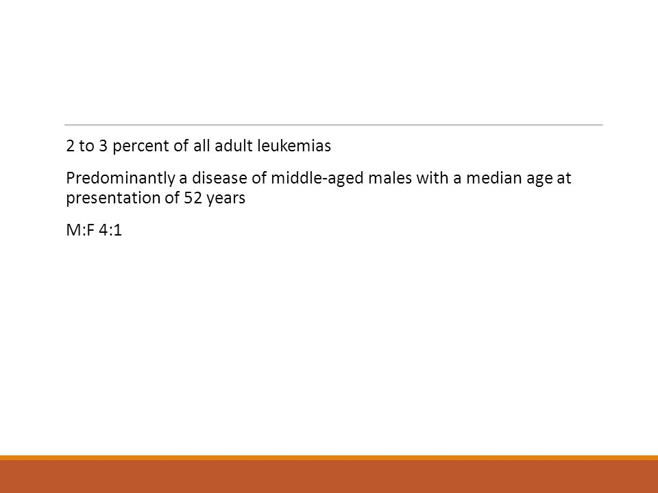 2 to 3 percent of all adult leukemias