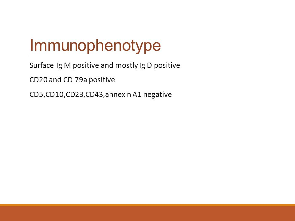 Immunophenotype Surface Ig M positive and mostly Ig D positive