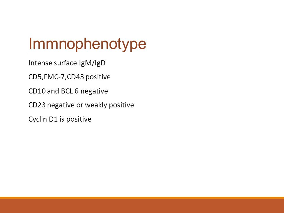 Immnophenotype Intense surface IgM/IgD CD5,FMC-7,CD43 positive
