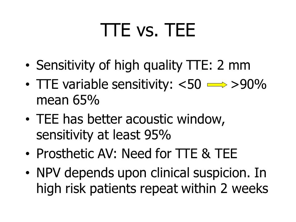 TTE vs. TEE Sensitivity of high quality TTE: 2 mm