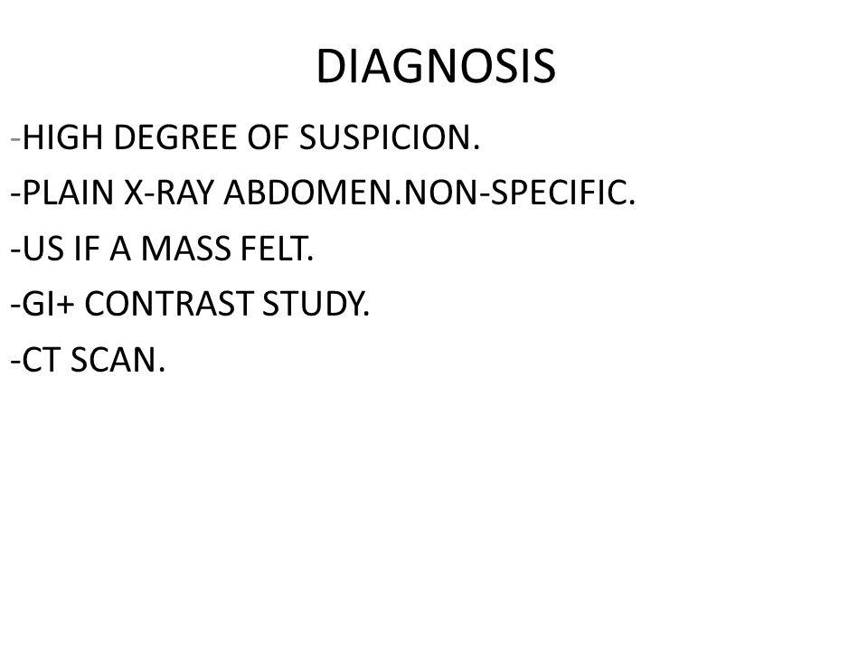 DIAGNOSIS -HIGH DEGREE OF SUSPICION.
