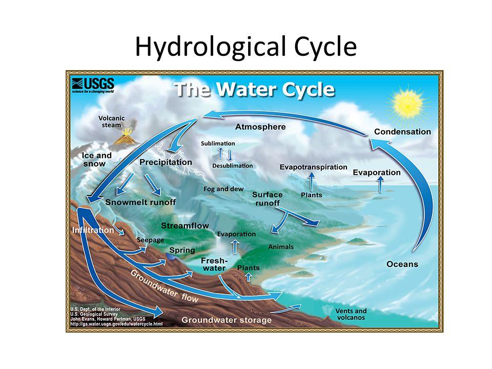 Hydrological Cycle Only 3% of Earth's water is fresh water, the water people need to survive. Review the hydrological cycle.