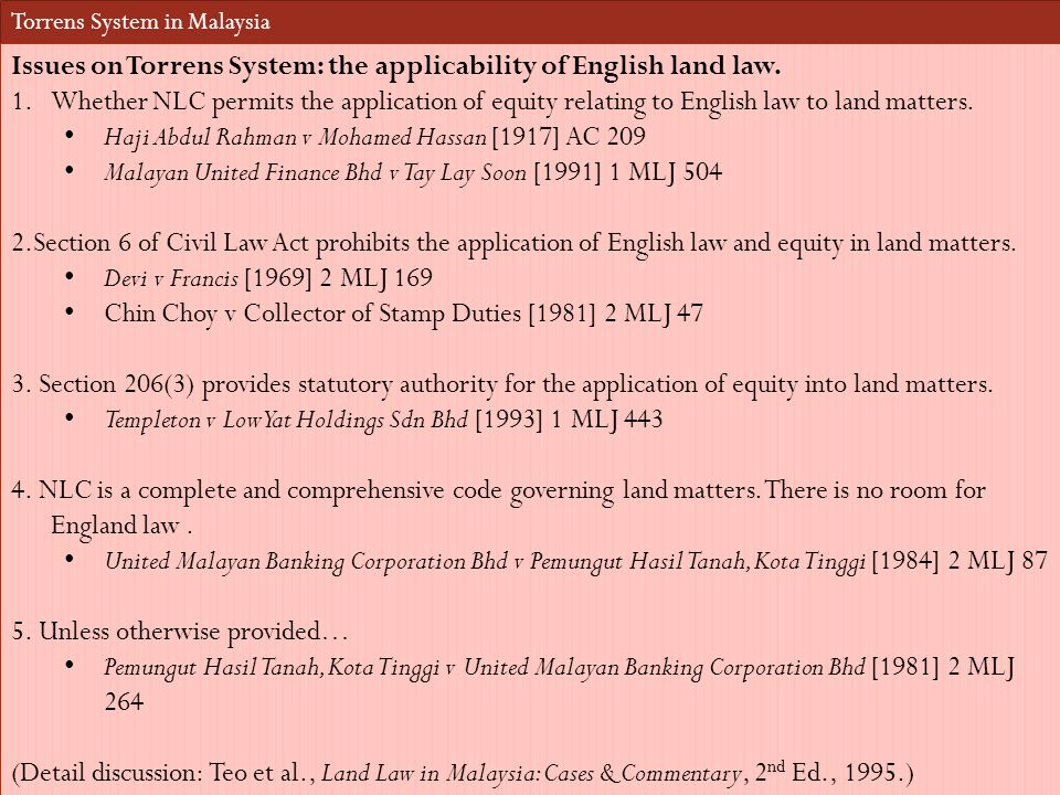 Issues on Torrens System: the applicability of English land law.