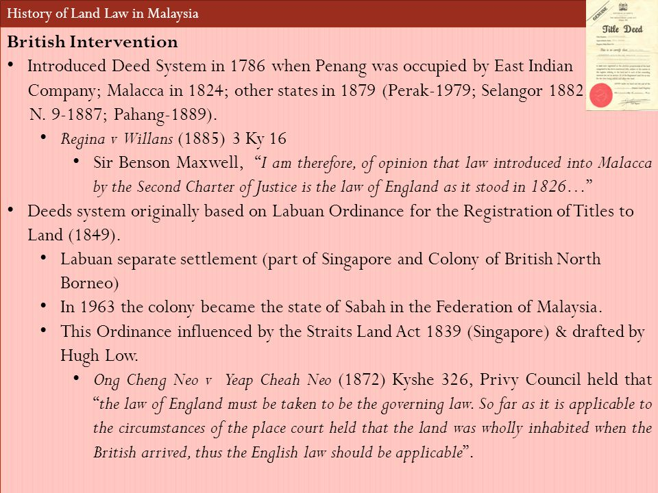 History of Land Law in Malaysia