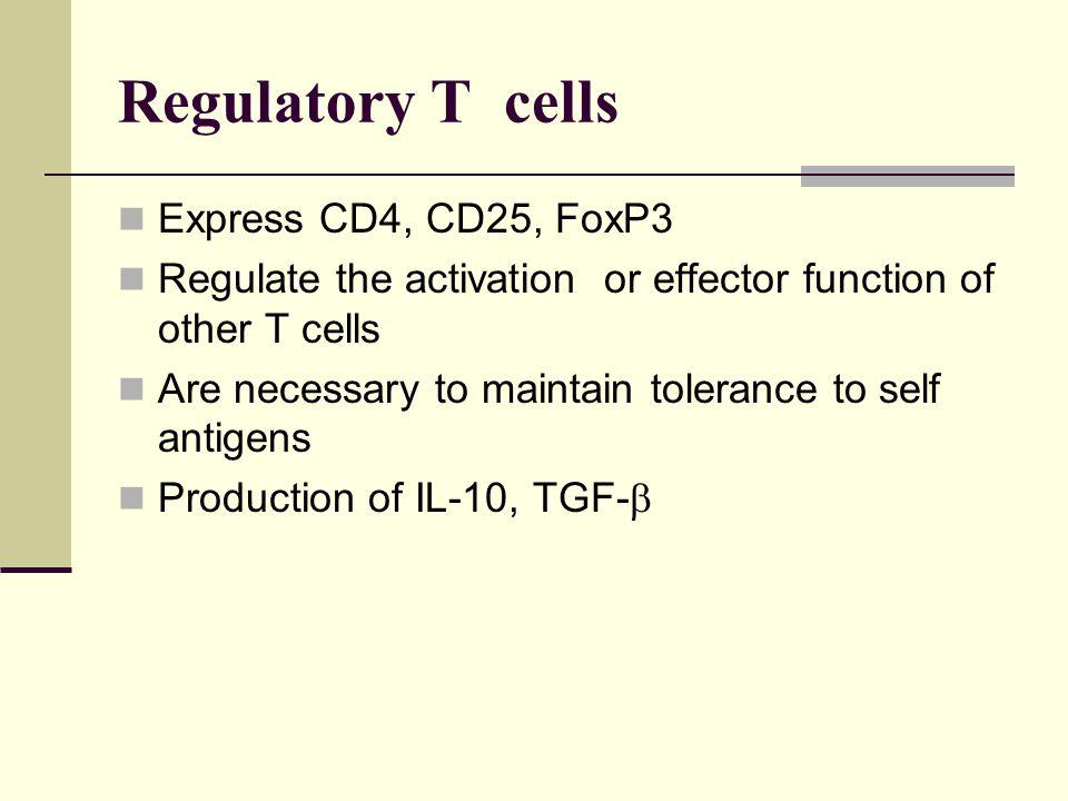 Regulatory T cells Express CD4, CD25, FoxP3