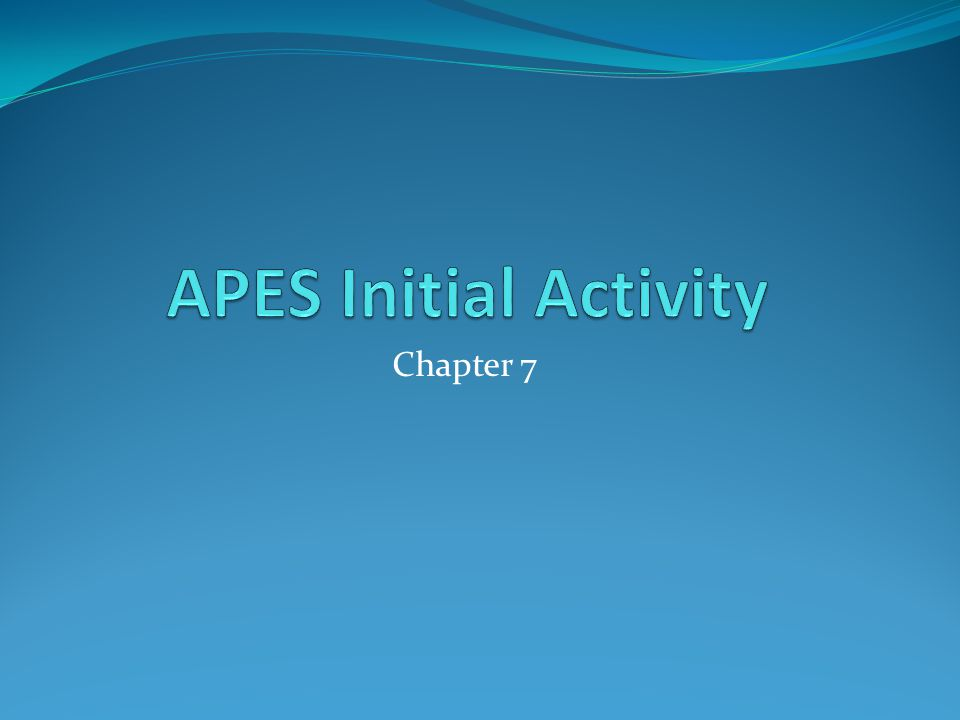 APES Initial Activity Chapter 7
