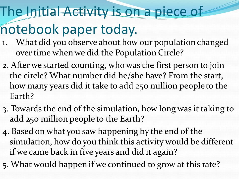 The Initial Activity is on a piece of notebook paper today.