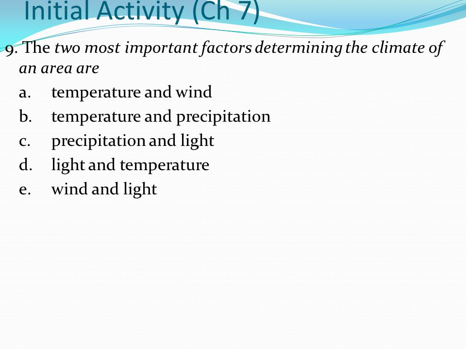 Initial Activity (Ch 7)