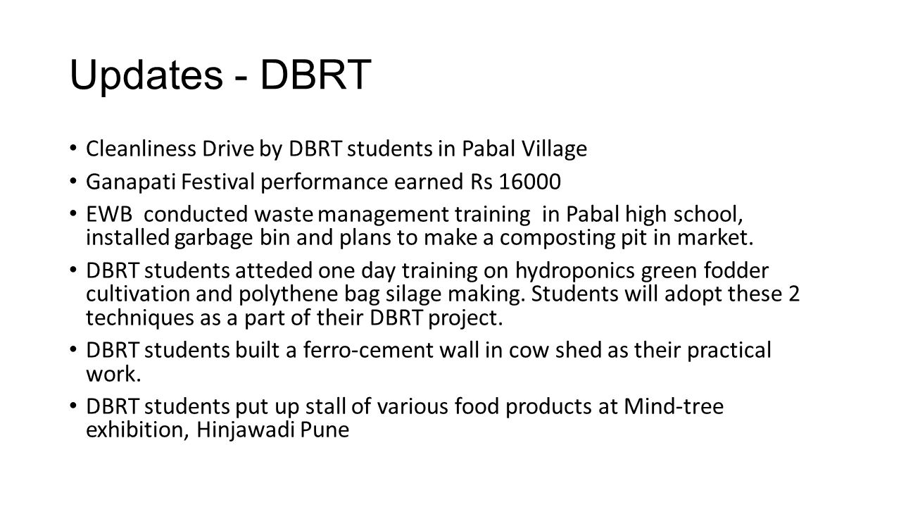 Updates - DBRT Cleanliness Drive by DBRT students in Pabal Village