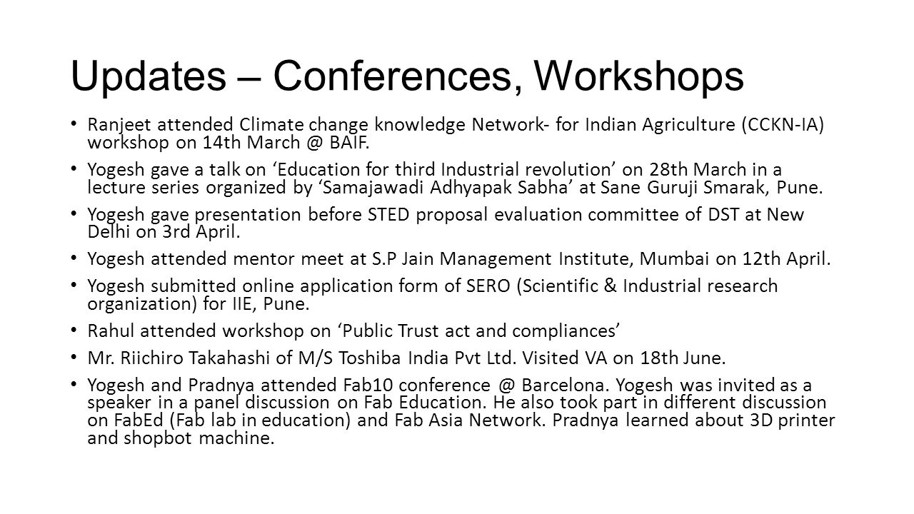 Updates – Conferences, Workshops