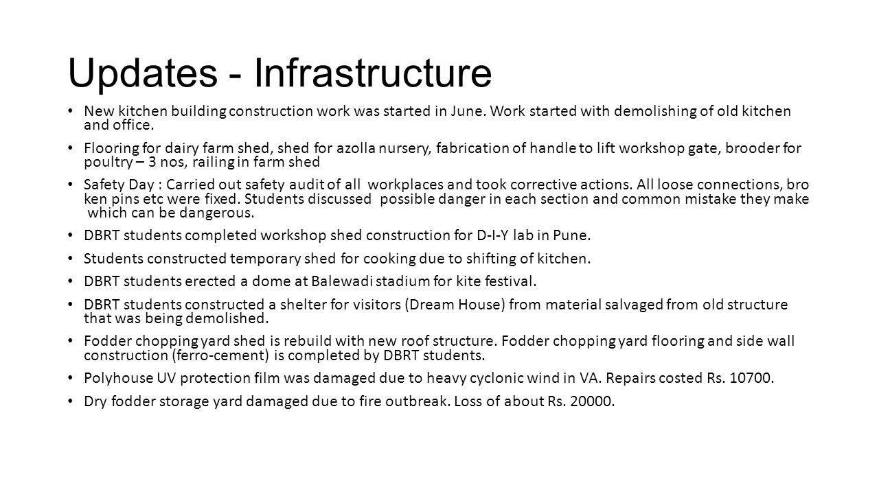 Updates - Infrastructure