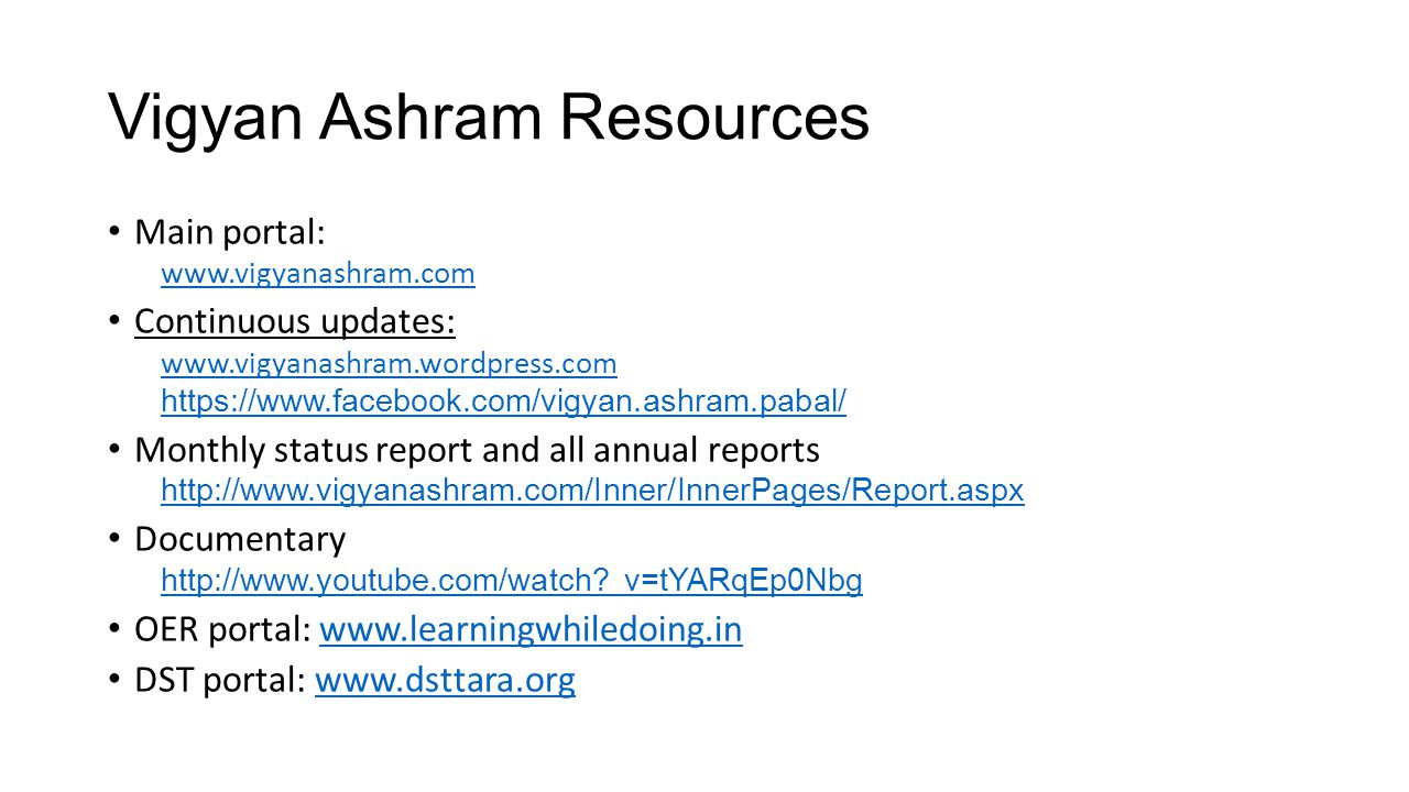 Vigyan Ashram Resources
