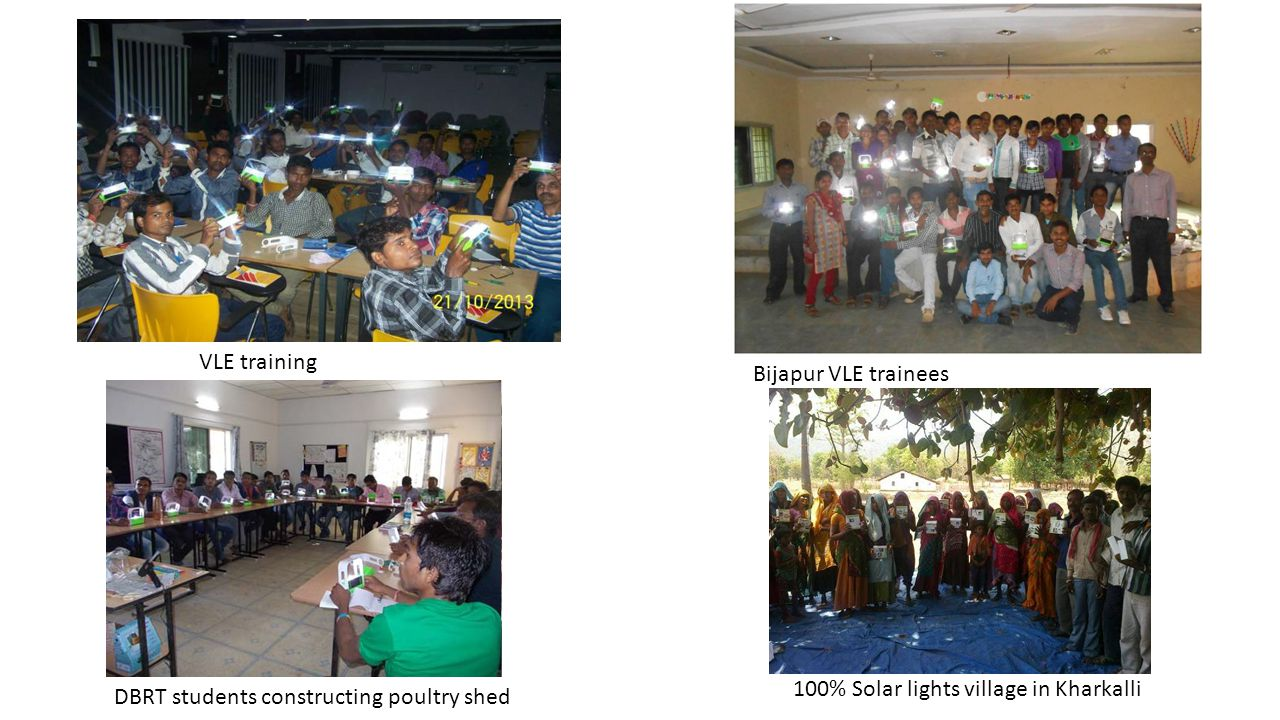 VLE training Bijapur VLE trainees. 100% Solar lights village in Kharkalli.