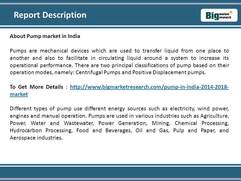 Report Description About Pump market in India