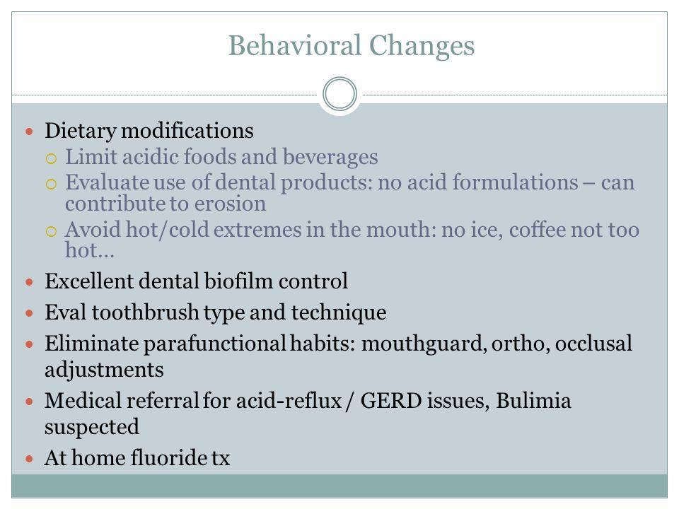 Behavioral Changes Dietary modifications