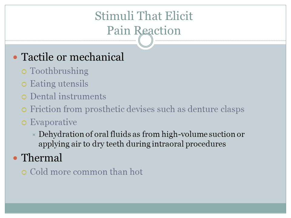 Stimuli That Elicit Pain Reaction