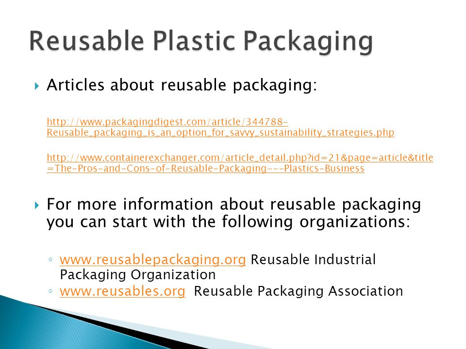 Reusable Plastic Packaging
