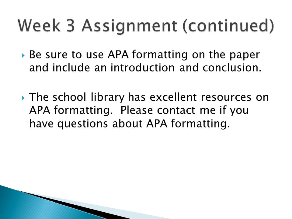 Week 3 Assignment (continued)