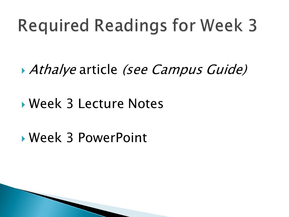 Required Readings for Week 3