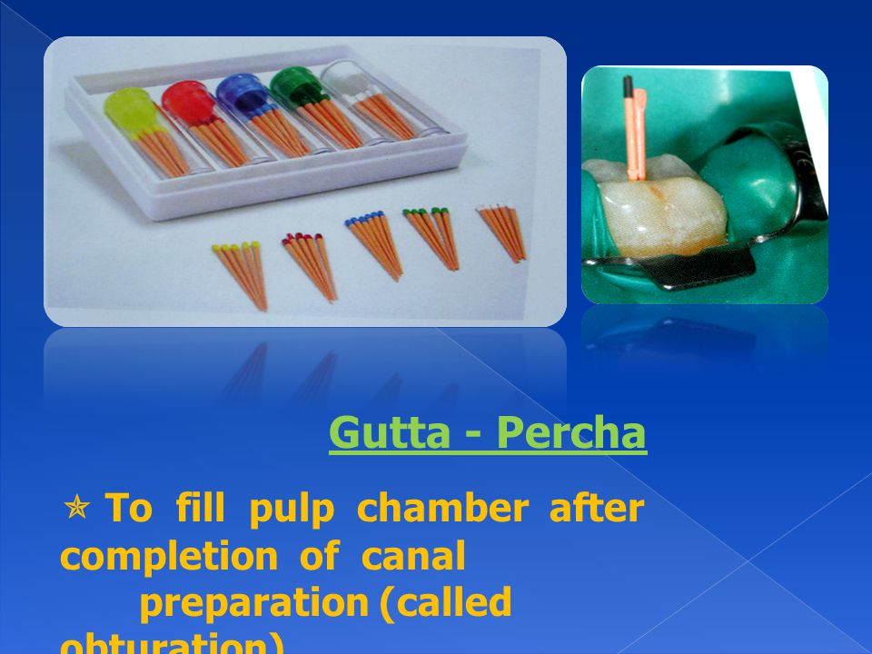 Gutta - Percha  To fill pulp chamber after completion of canal