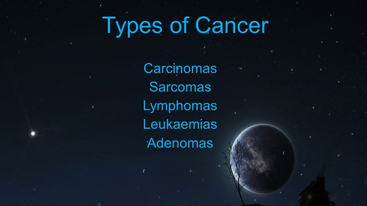 Types of Cancer Carcinomas Sarcomas Lymphomas Leukaemias Adenomas
