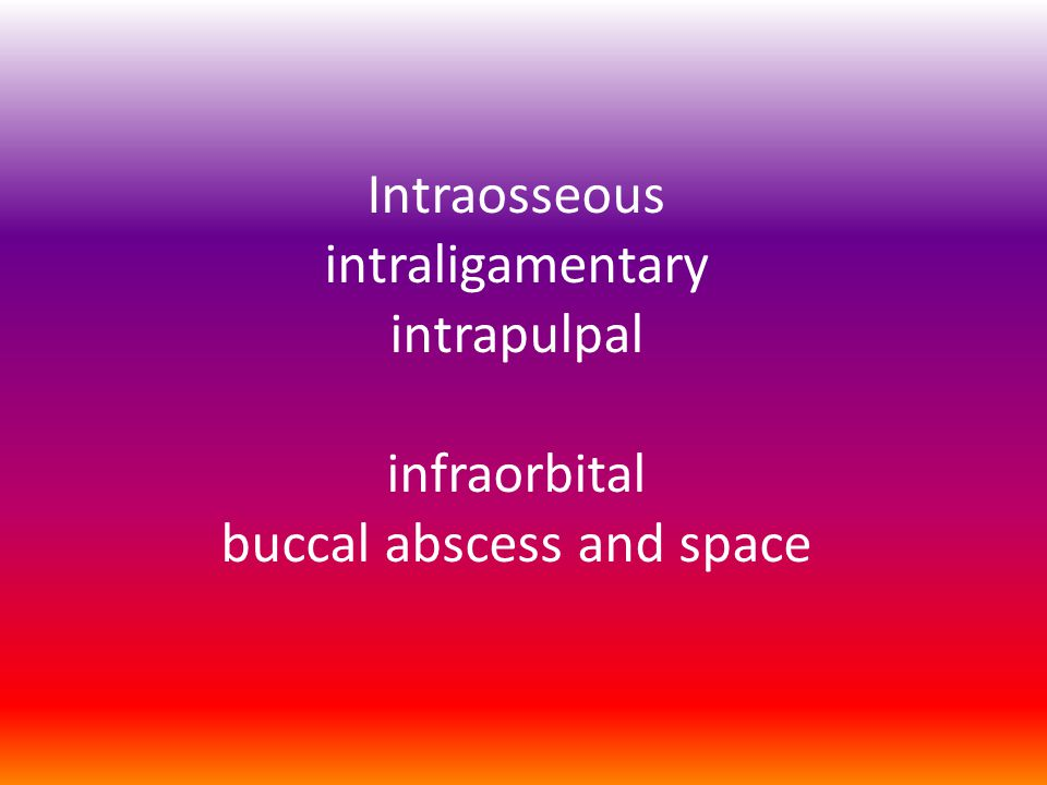 Intraosseous intraligamentary intrapulpal infraorbital buccal abscess and space
