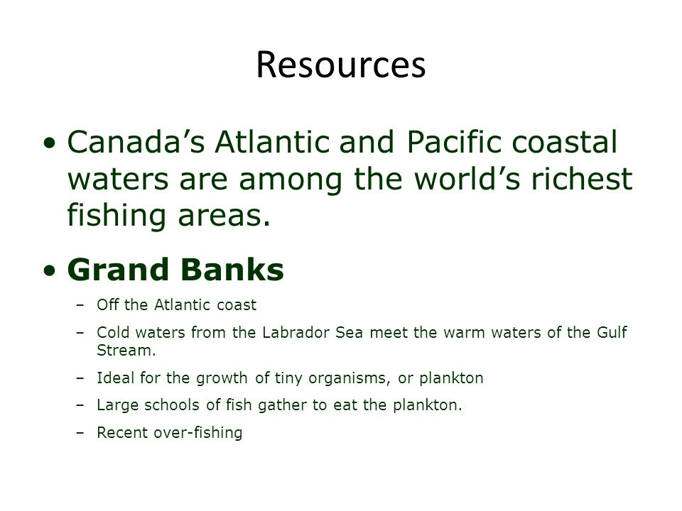 Resources Canada's Atlantic and Pacific coastal waters are among the world's richest fishing areas.