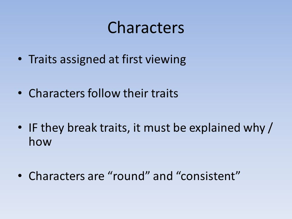 Characters Traits assigned at first viewing