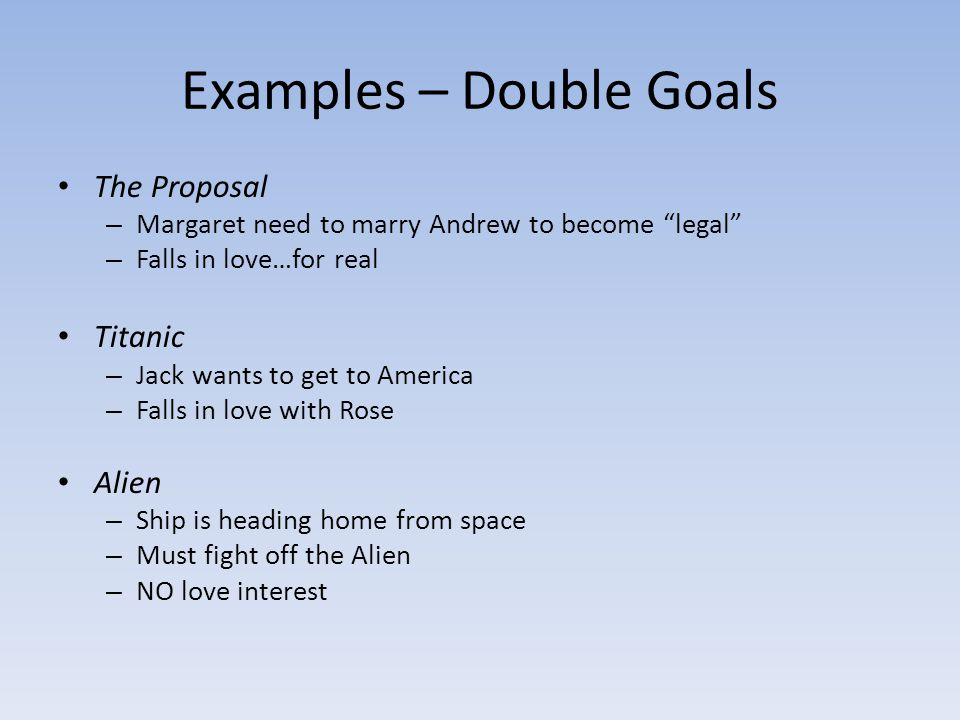 Examples – Double Goals