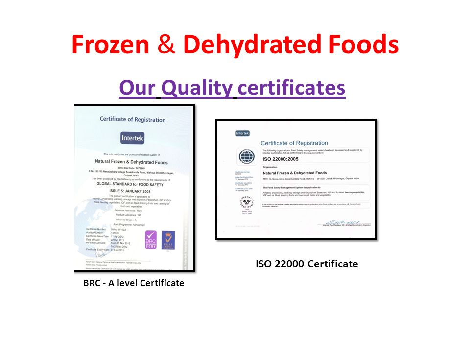 Frozen & Dehydrated Foods