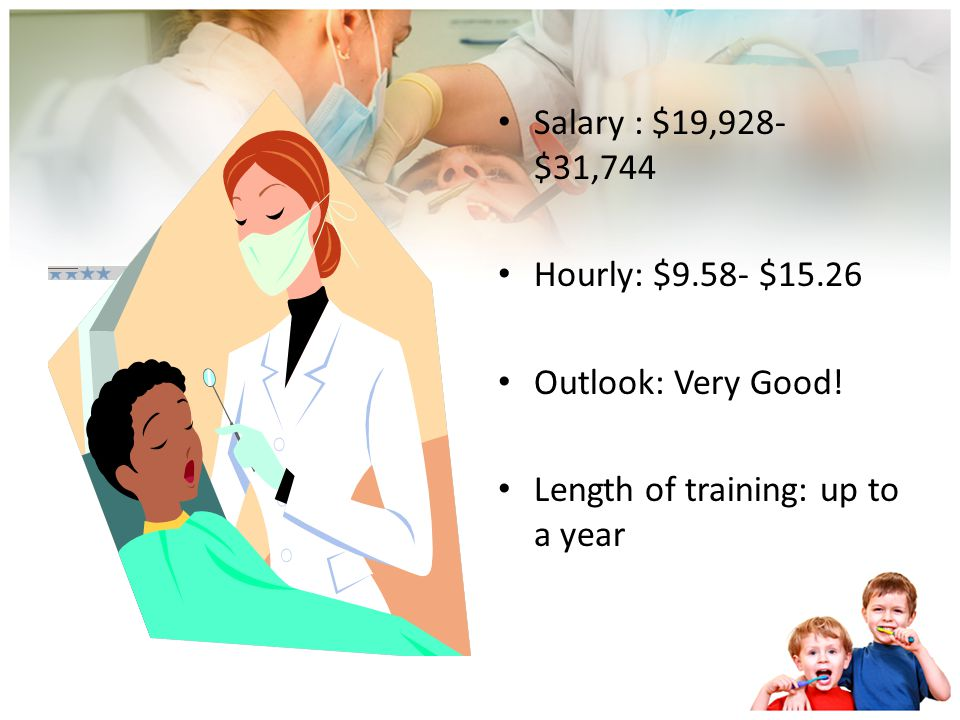 Salary : $19,928-$31,744 Hourly: $9.58- $15.26 Outlook: Very Good! Length of training: up to a year