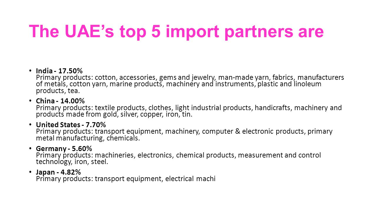 The UAE's top 5 import partners are