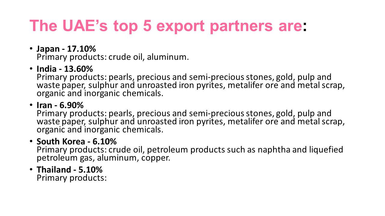 The UAE's top 5 export partners are:
