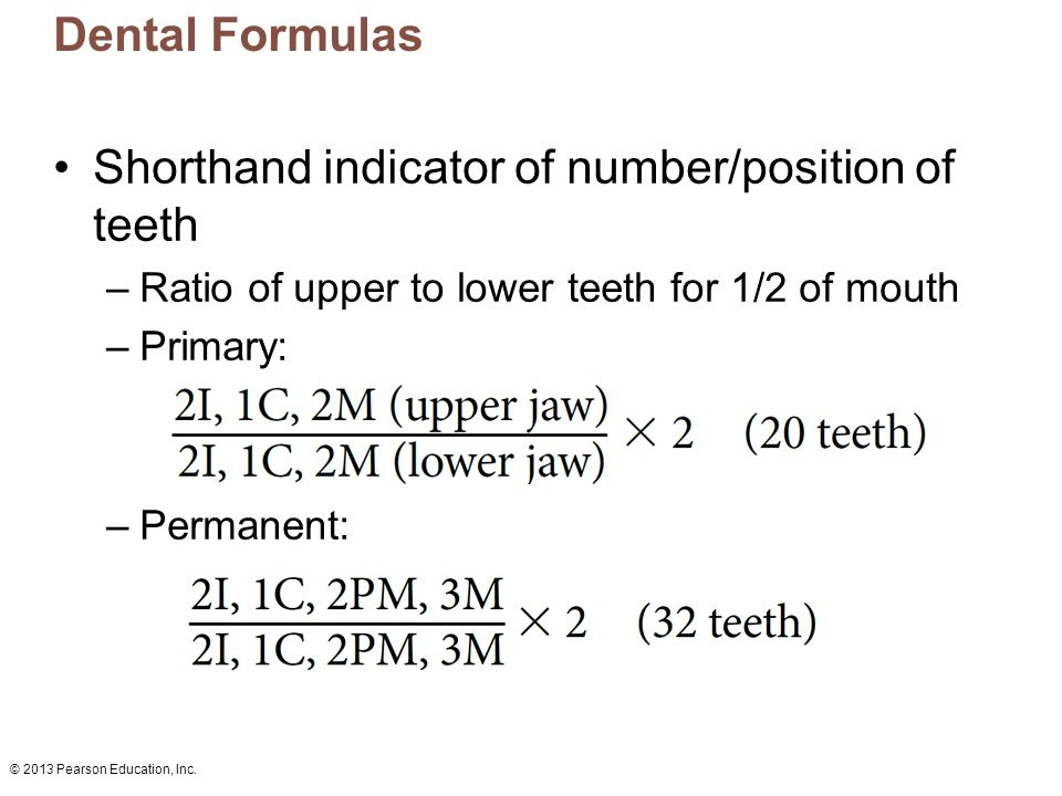 Shorthand indicator of number/position of teeth