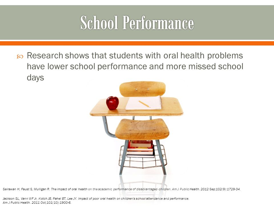 School Performance Research shows that students with oral health problems have lower school performance and more missed school days.