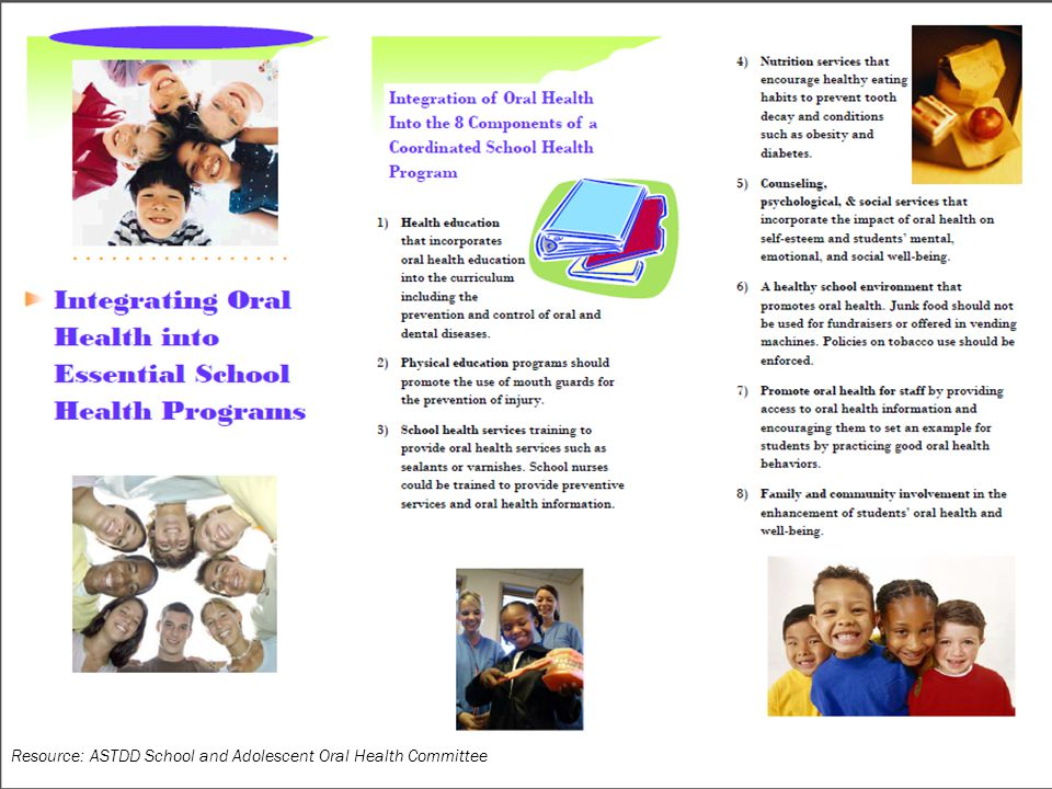 Resource: ASTDD School and Adolescent Oral Health Committee