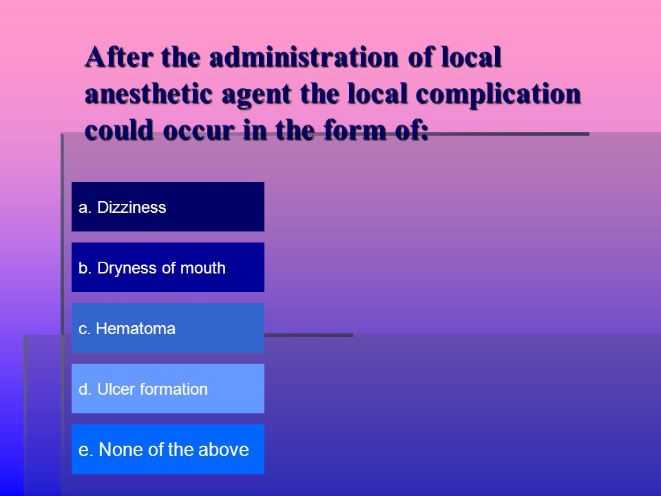After the administration of local anesthetic agent the local complication could occur in the form of: