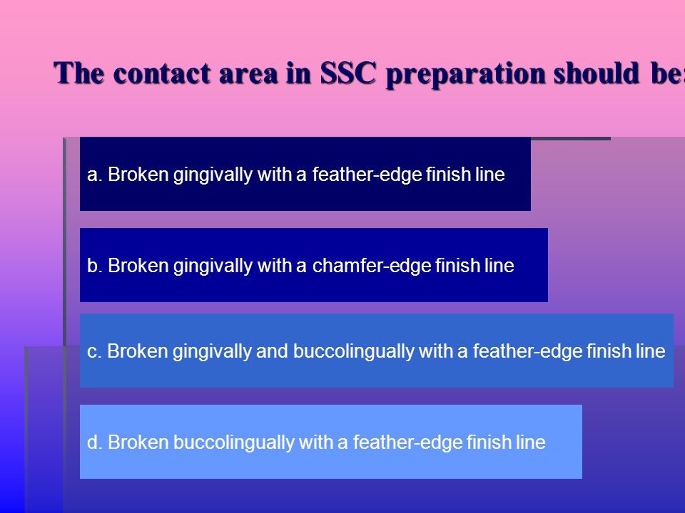 The contact area in SSC preparation should be: