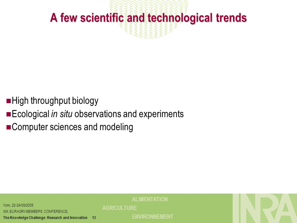 A few scientific and technological trends