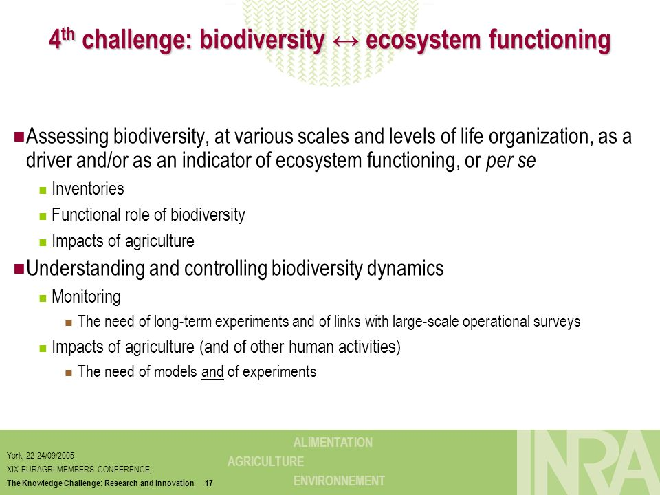 4th challenge: biodiversity ↔ ecosystem functioning