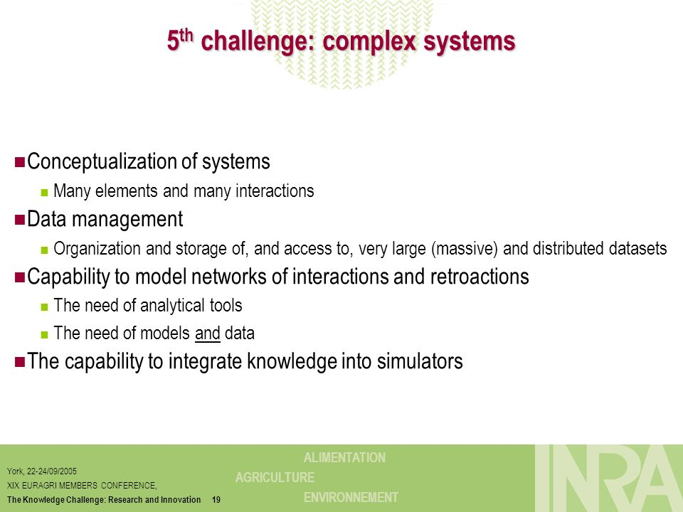 5th challenge: complex systems