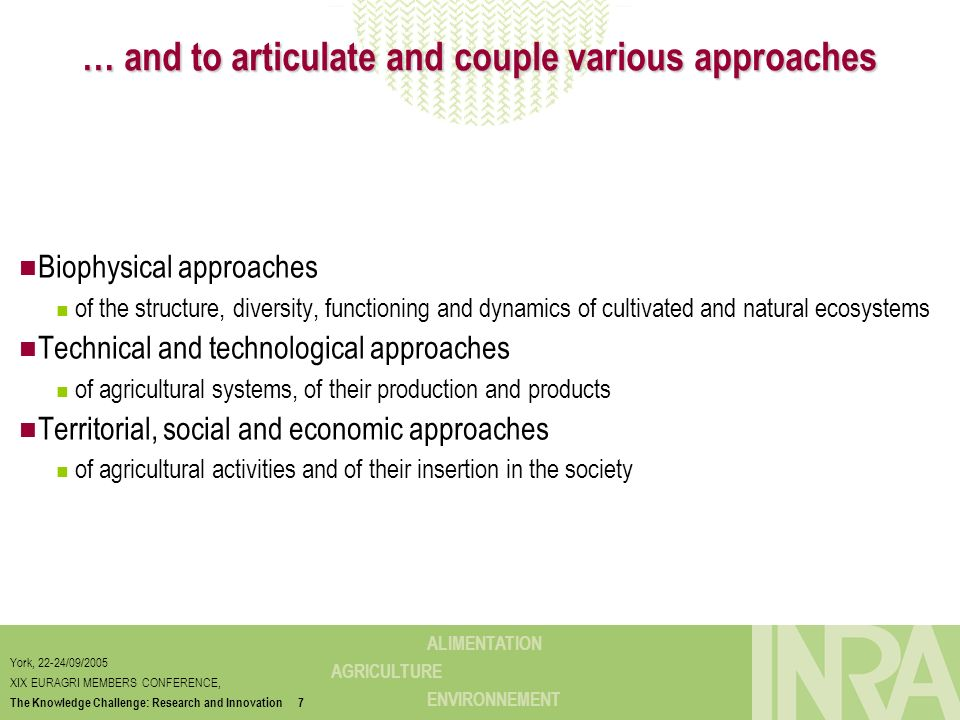 … and to articulate and couple various approaches