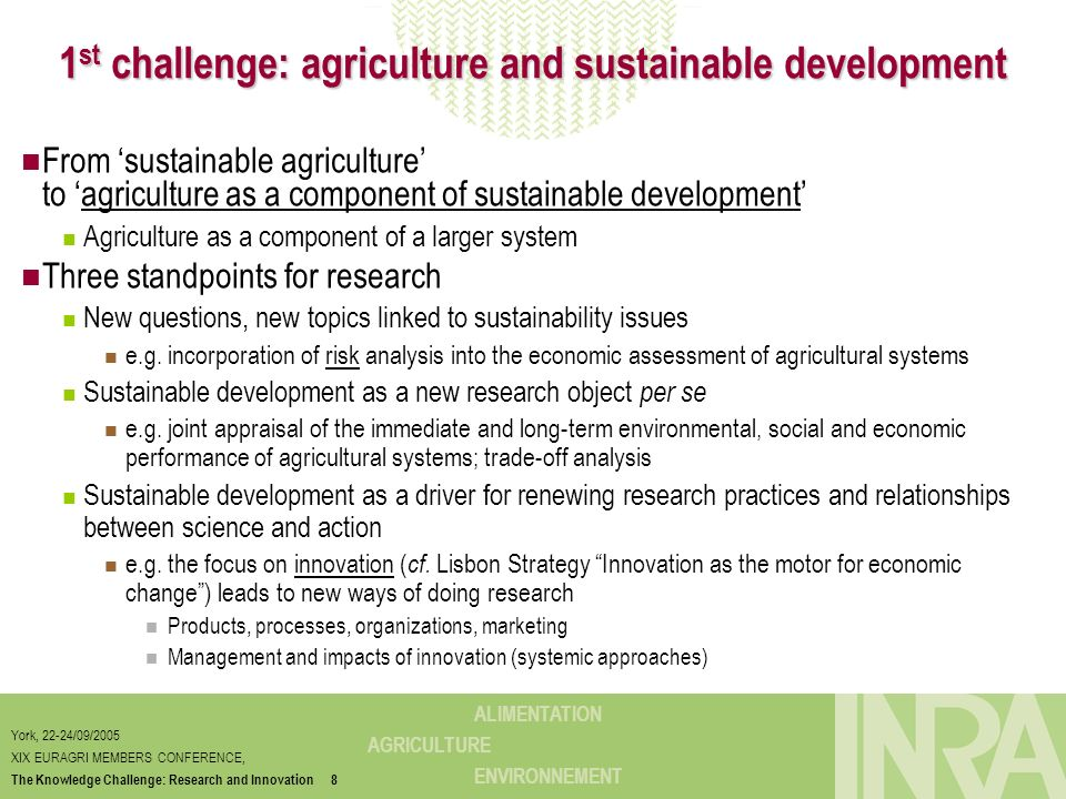 1st challenge: agriculture and sustainable development
