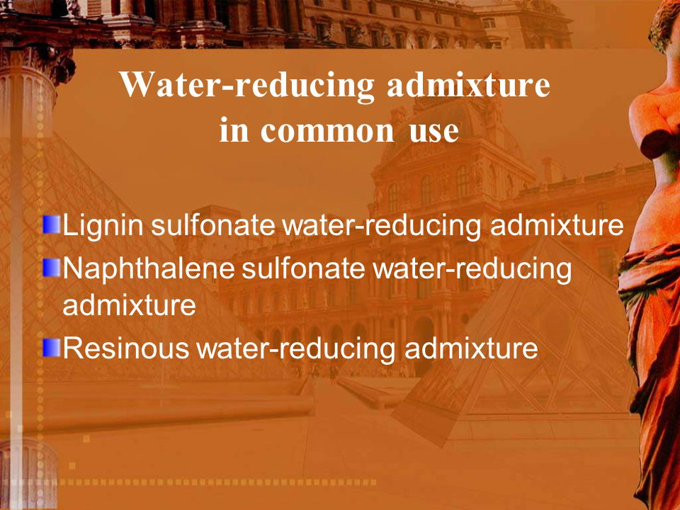 Water-reducing admixture in common use