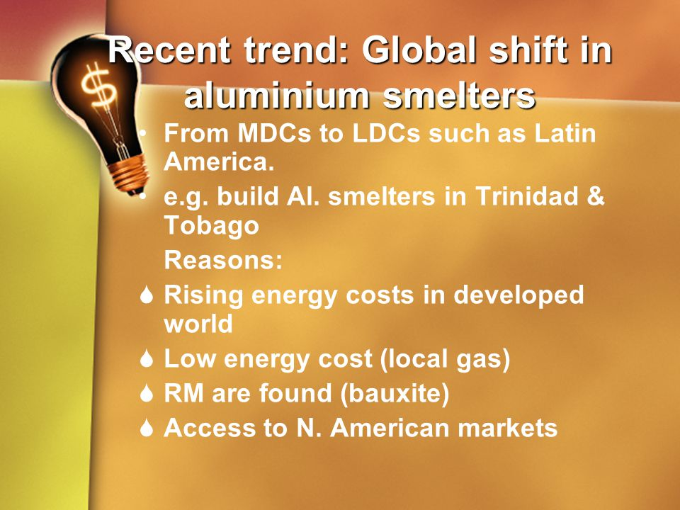 Recent trend: Global shift in aluminium smelters