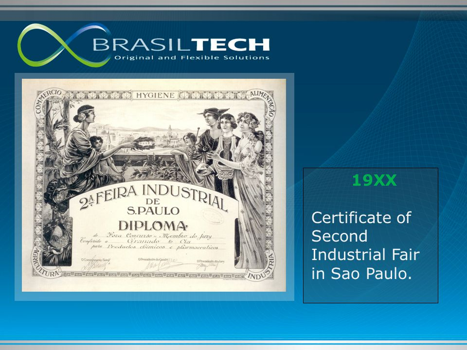 19XX Certificate of Second Industrial Fair in Sao Paulo.
