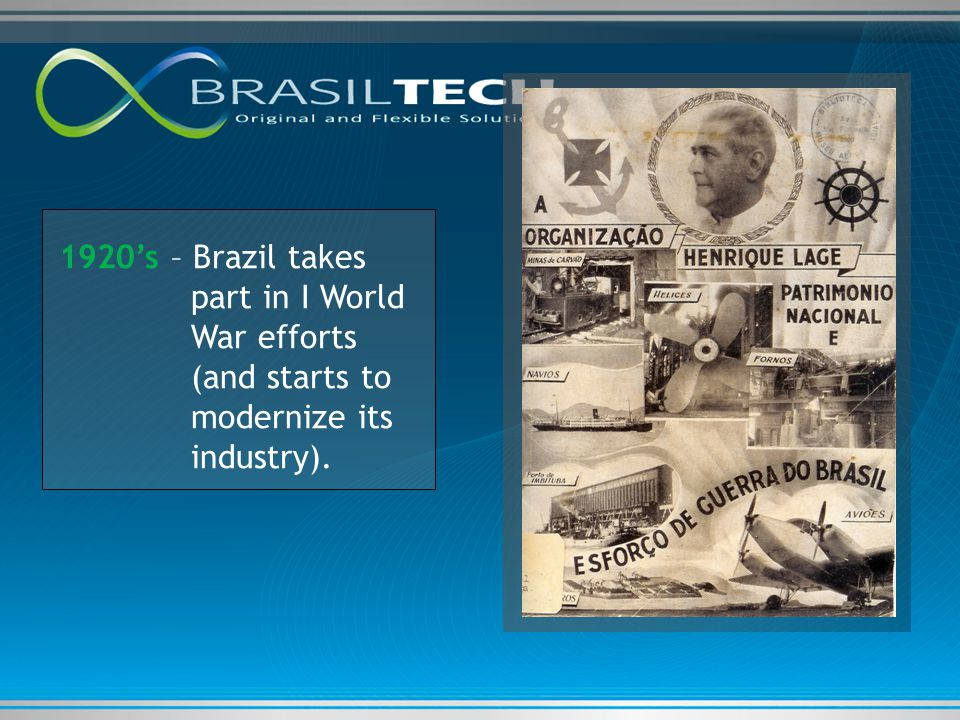 1920's – Brazil takes part in I World War efforts (and starts to modernize its industry).