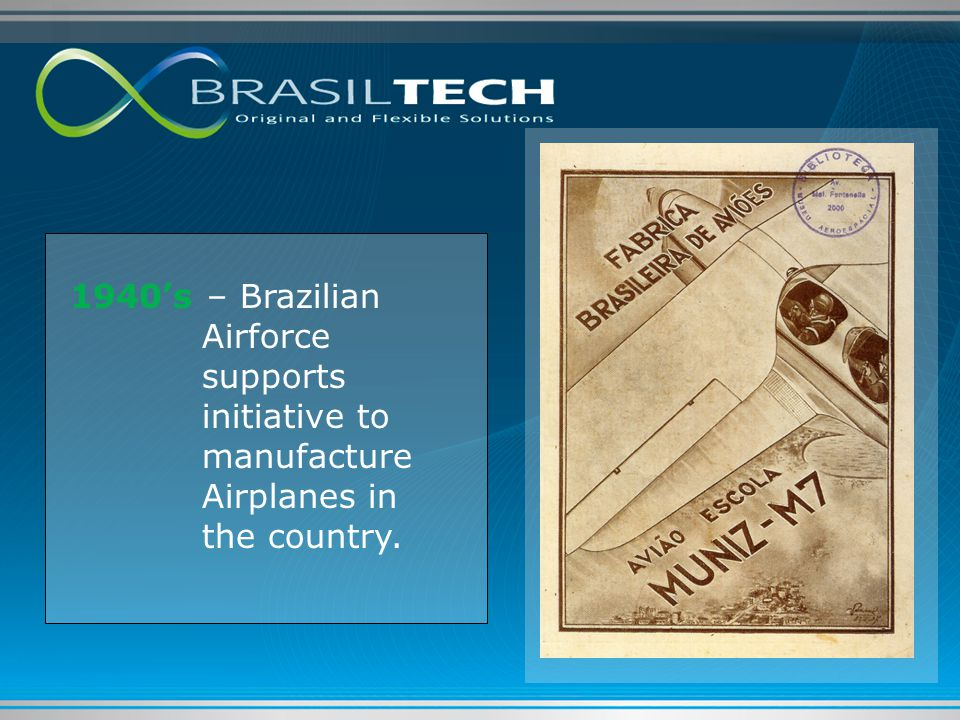 1940's – Brazilian Airforce supports initiative to manufacture Airplanes in the country.