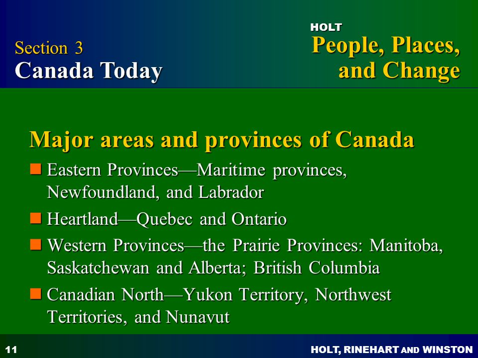 Major areas and provinces of Canada