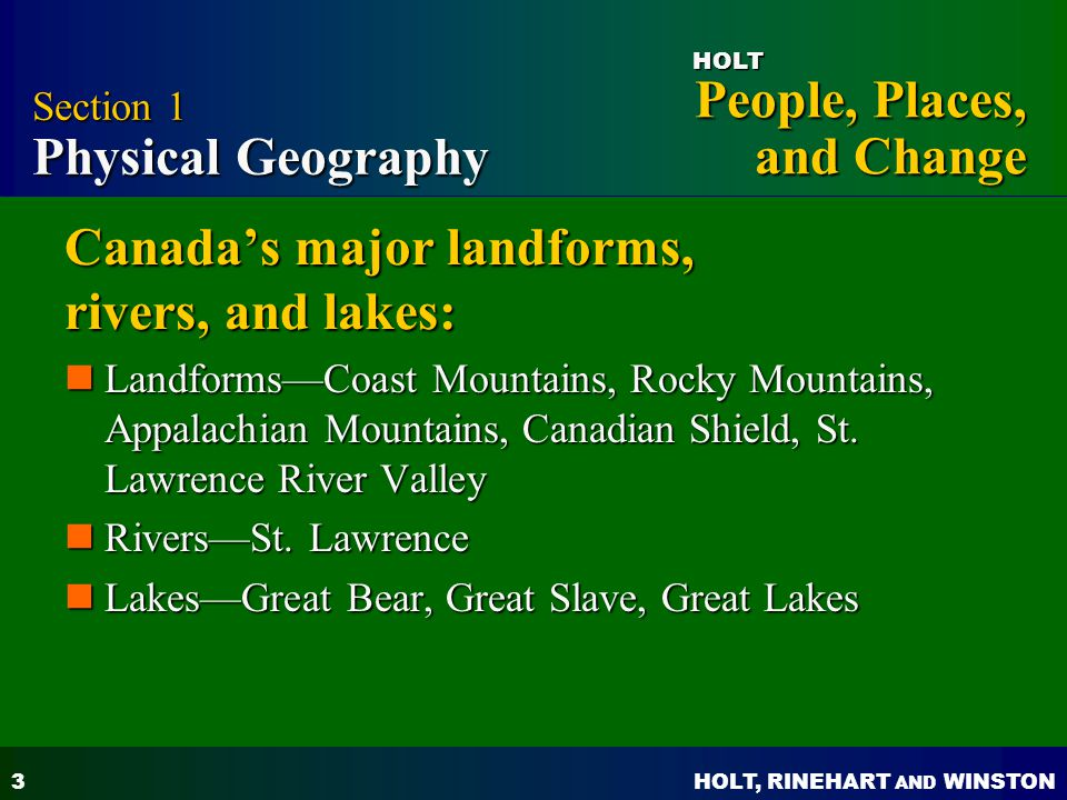 Canada's major landforms, rivers, and lakes: